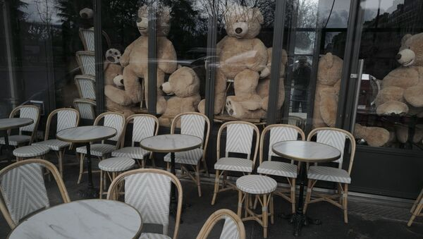 Teddy bears are placed in a restaurant by Philippe Labourel, who wants to be named 'Le papa des nounours', 'Teddy Bear father', in Paris, Sunday, March 21, 2021. - Sputnik International