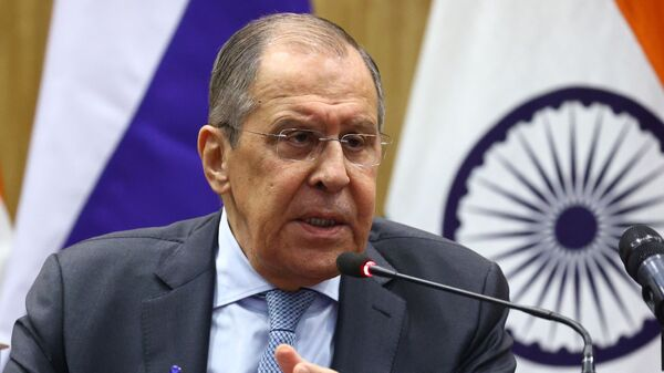 Russian Foreign Minister Sergei Lavrov attends a joint news conference with his Indian counterpart Subrahmanyam Jaishankar following their meeting, in New Delhi, India - Sputnik International