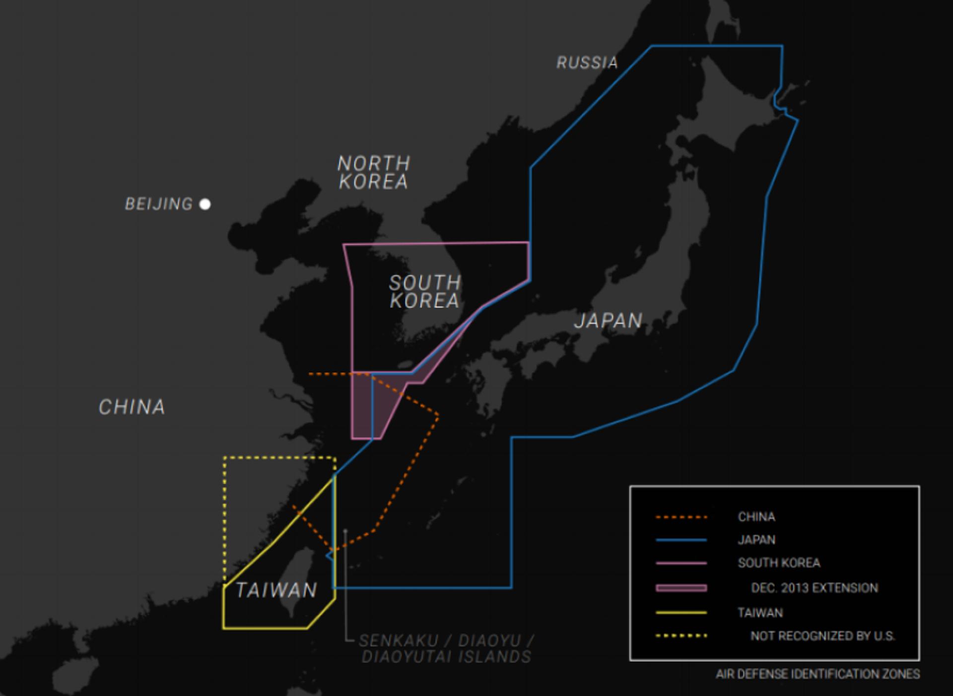 A graphic showing the self-declared Air Defense Identification Zones (ADIZ) of Taiwan, South Korea and Japan - Sputnik International, 1920, 07.09.2021