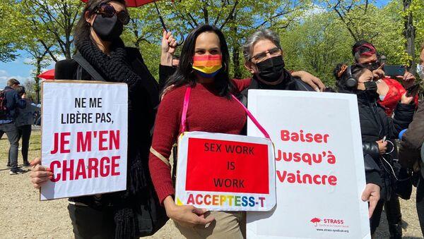 Sex workers rally in Paris on 13 April 2021 - Sputnik International