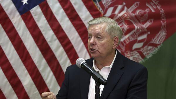 U.S. Senator Lindsey Graham, speaks during a press conference at the Resolute Support headquarters in Kabul, Afghanistan, Monday, Dec. 16, 2019.  - Sputnik International