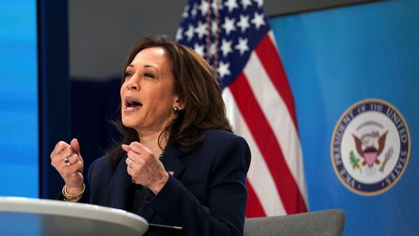 U.S. Vice President Kamala Harris speaks during a virtual meeting with founding members of the COVID-19 Community Corps to discuss Health and Human Services' COVID-19 public education campaign at the White House in Washington, U.S., April 1, 2021 - Sputnik International
