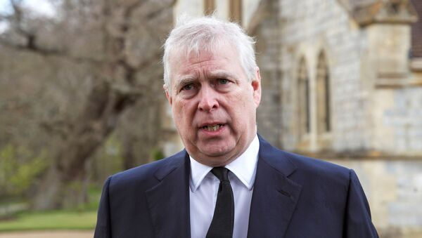 Britain's Prince Andrew speaks to the media during Sunday service at the Royal Chapel of All Saints at Windsor Great Park, Britain following Friday's death of his father Prince Philip at age 99, April 11, 2021 - Sputnik International