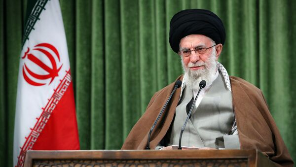 In this picture released by the official website of the office of the Iranian supreme leader, Supreme Leader Ayatollah Ali Khamenei addresses the nation in a televised speech marking the Iranian New Year, in Tehran, Iran, Sunday, March 21, 2021. - Sputnik International