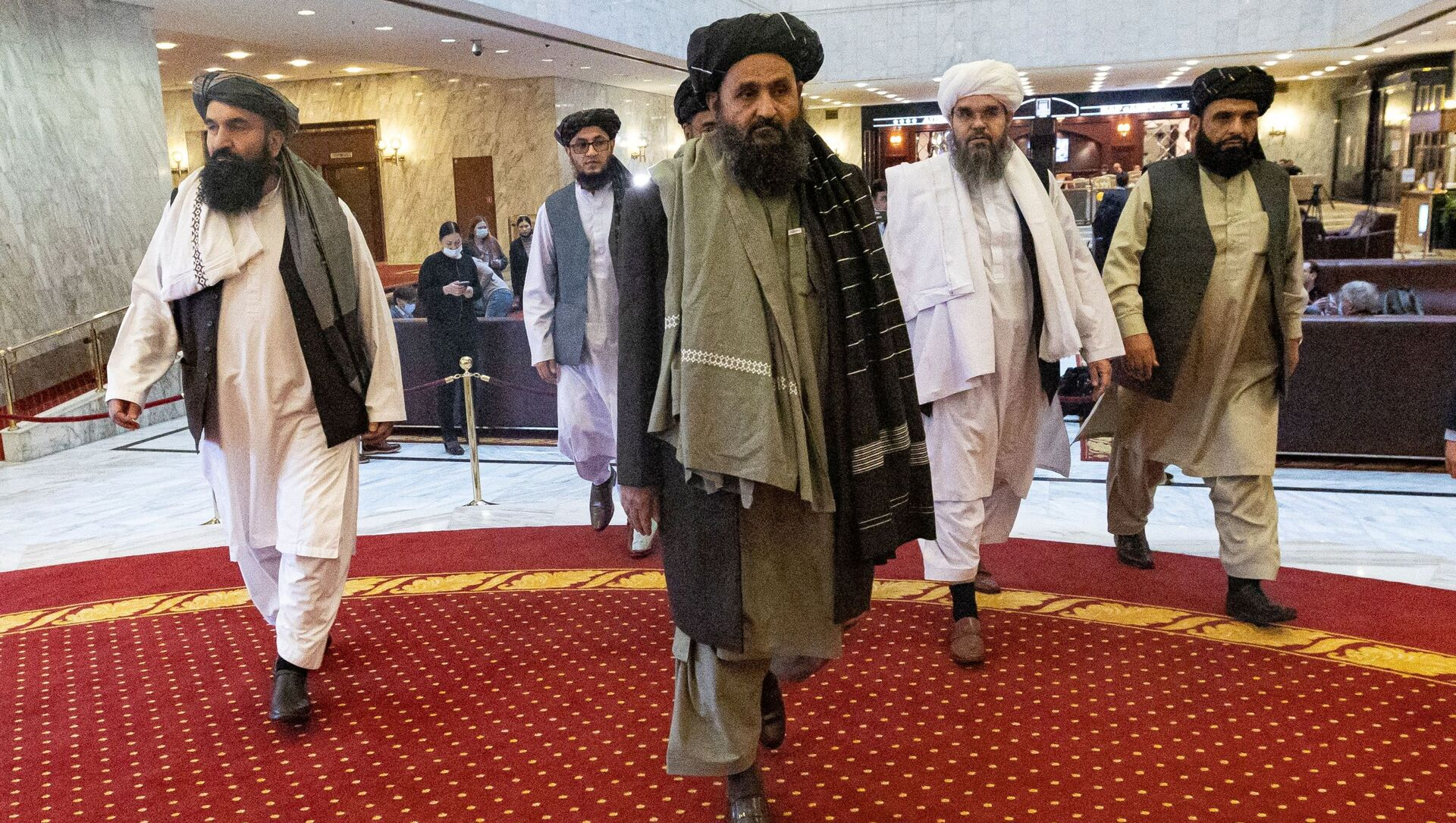 Mullah Abdul Ghani Baradar, the Taliban's deputy leader and negotiator, and other delegation members attend the Afghan peace conference in Moscow, Russia March 18, 2021. - Sputnik International, 1920, 24.08.2021
