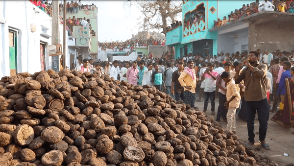 Cow poop flies as Indian villagers throw dung at each other…  - Sputnik International