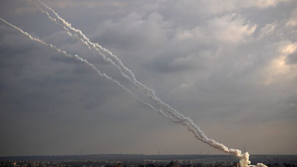 Rockets are launched from the Gaza Strip towards Israel, Monday, Feb. 24, 2020. - Sputnik International