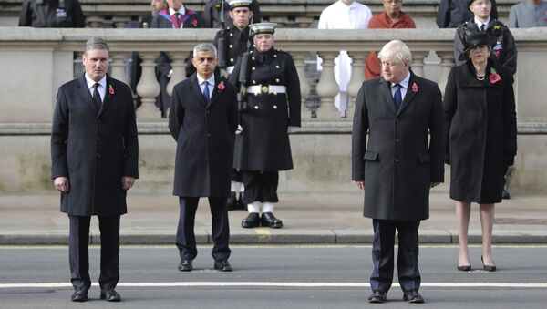 From left, Labour Party leader Sir Keir Starmer, Mayor of London Sadiq Khan, Prime Minister Boris Johnson and former prime minister Theresa May stand, during the Remembrance Sunday service at the Cenotaph, in Whitehall, London, Sunday Nov. 8, 2020.  - Sputnik International