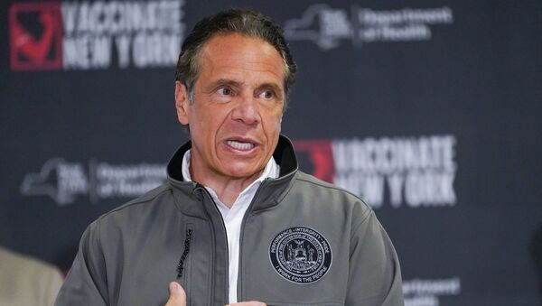 Gov. Andrew Cuomo speaks during a news conference, Wednesday, April 14, 2021 at a pop up COVID-19 vaccination sight at Belmont Park in Elmont, N.Y.  - Sputnik International