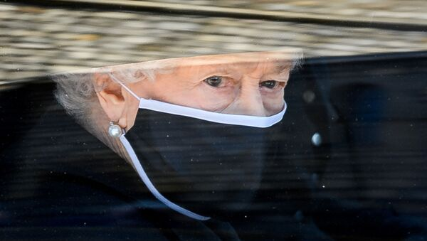 Britain's Queen Elizabeth II arrives at St George's Chapel, Windsor, Britain, on 17 April 2021, for the funeral of her husband Prince Philip, who died at the age of 99. - Sputnik International