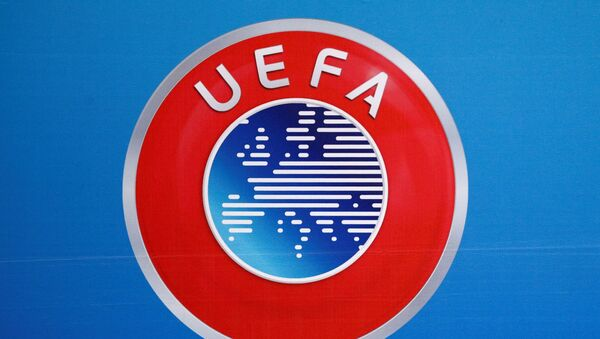 A logo is pictured on a backdrop before a news conference after an UEFA Executive Board meeting in Nyon, Switzerland, December 9, 2016 - Sputnik International