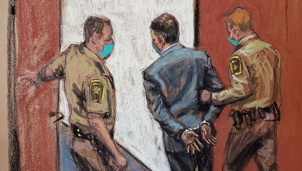 Former Minneapolis police officer Derek Chauvin is led away in handcuffs after a jury found him guilty on all counts in his trial for second-degree murder, third-degree murder and second-degree manslaughter in the death of George Floyd in Minneapolis, Minnesota, U.S. April 20, 2021 in this courtroom sketch. - Sputnik International