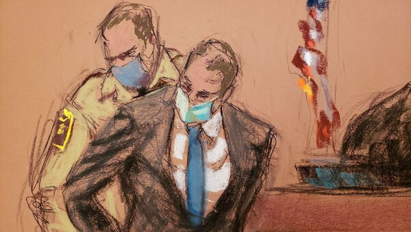 Former Minneapolis police officer Derek Chauvin is placed in handcuffs after a jury found him guilty on all counts in his trial for second-degree murder, third-degree murder and second-degree manslaughter in the death of George Floyd in Minneapolis, Minnesota, U.S. April 20, 2021 in this courtroom sketch - Sputnik International