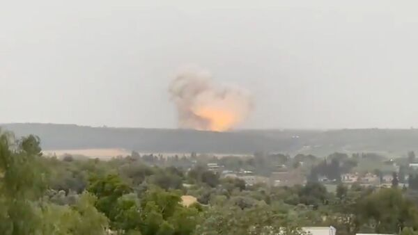Screenshot captures the exact moment that an explosion erupted near the Israeli town of Ramle. It has since been revealed that the incident was part of a controlled test being conducted by Tomer, an Israeli state-owned defense firm. - Sputnik International