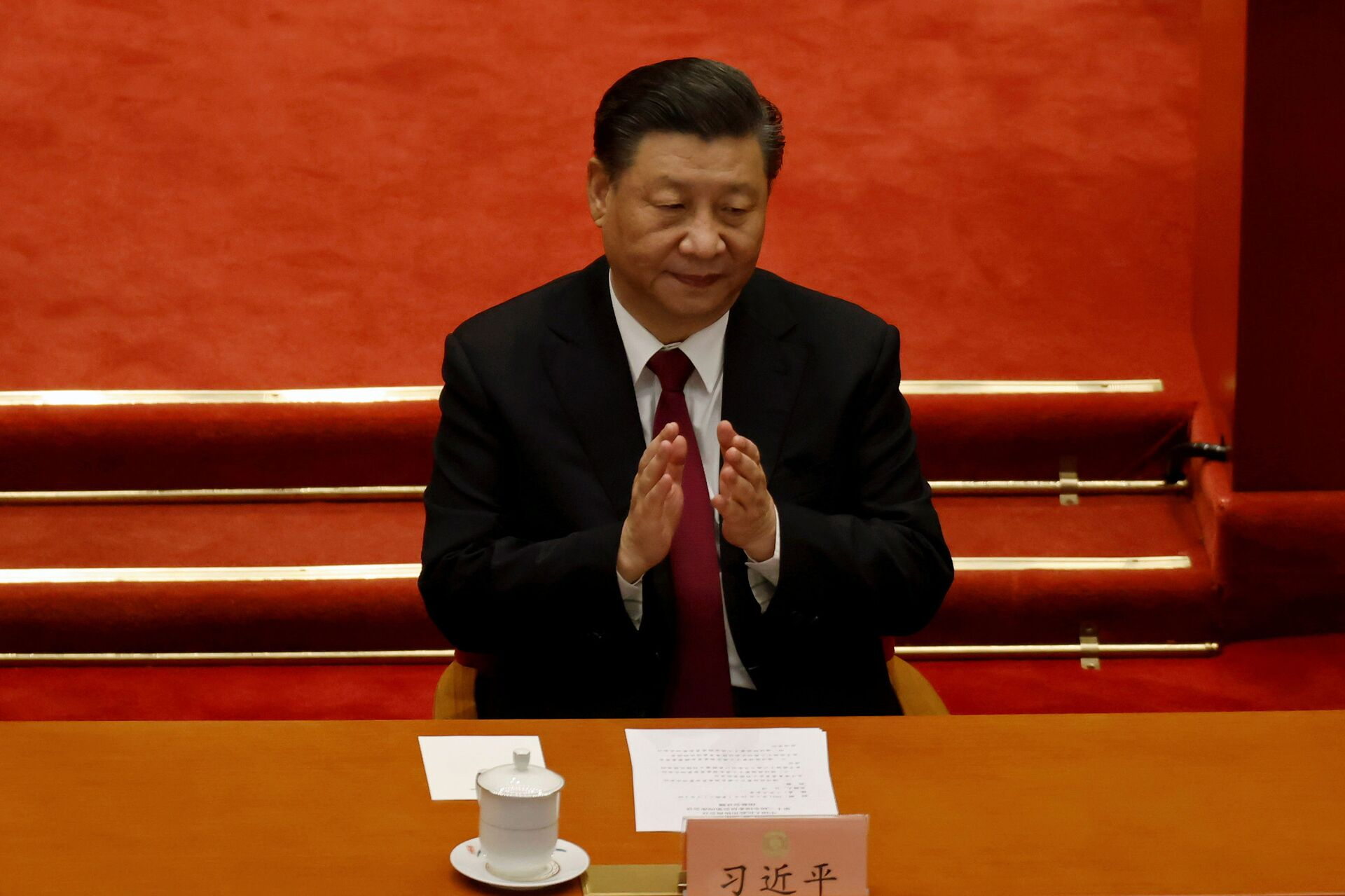 Chinese President Xi Jinping applauds at the closing session of the Chinese People's Political Consultative Conference (CPPCC) at the Great Hall of the People in Beijing, China March 10, 2021. - Sputnik International, 1920, 07.09.2021