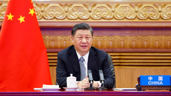 At the invitation of U.S. President Joe Biden, Chinese President Xi Jinping attends the Leaders Summit on Climate via video link and delivers an important speech titled For Man and Nature: Building a Community of Life Together in Beijing, capital of China, April 22, 2021. - Sputnik International