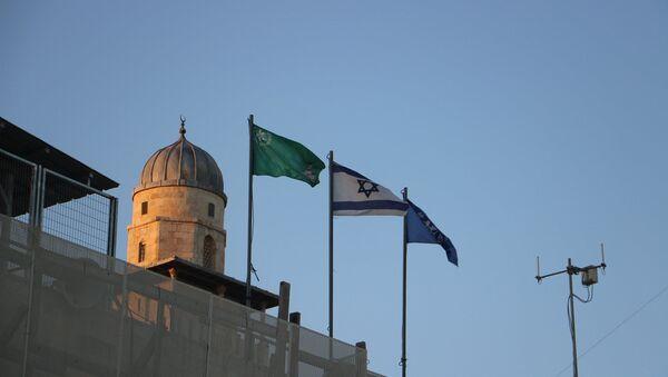 Flags along the Western Wall in Jerusalem, Israel - Sputnik International