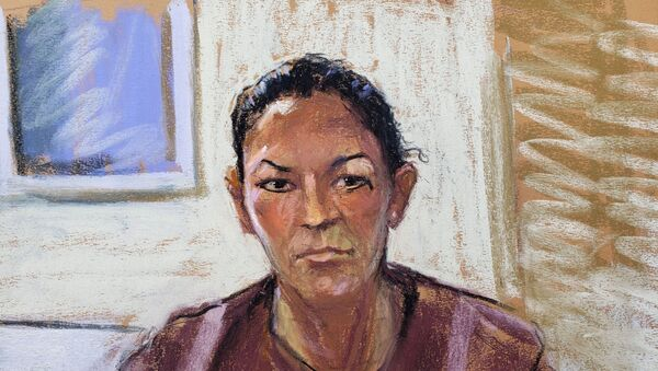 Ghislaine Maxwell appears via video link during her arraignment hearing where she was denied bail for her role aiding Jeffrey Epstein to recruit and eventually abuse of minor girls, in Manhattan Federal Court, in the Manhattan borough of New York City, New York, US, 14 July 2020 in this courtroom sketch. - Sputnik International