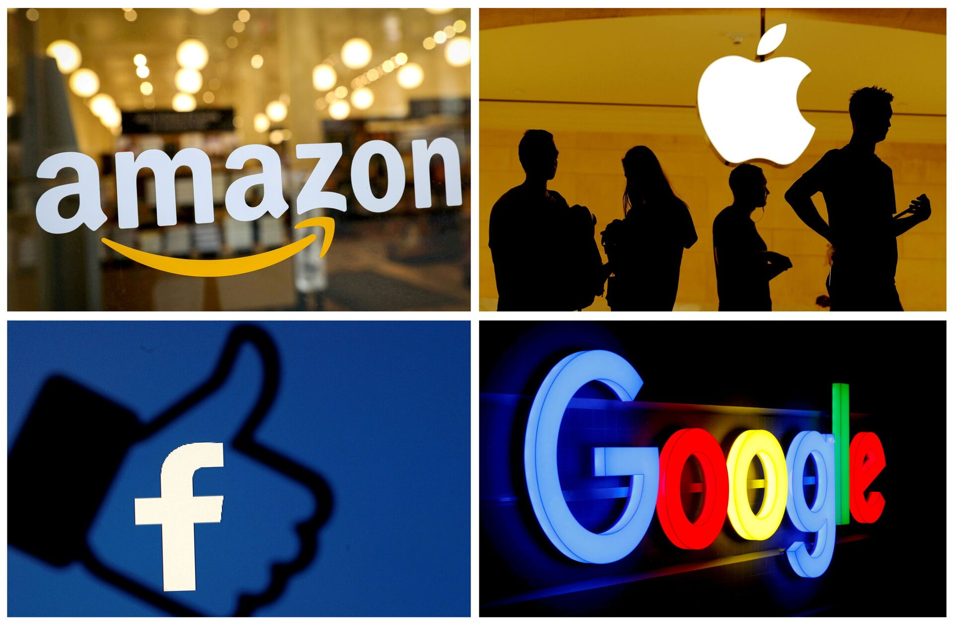 The logos of Amazon, Apple, Facebook and Google in a combination photo. File Photo - Sputnik International, 1920, 21.09.2021