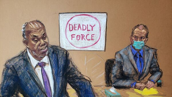 Prosecutor Jerry Blackwell delivers the rebuttal to the defense closing arguments during the trial of former Minneapolis police officer Derek Chauvin (R) for second-degree murder, third-degree murder and second-degree manslaughter in the death of George Floyd in Minneapolis, Minnesota, U.S. April 19, 2021 in this courtroom sketch. - Sputnik International