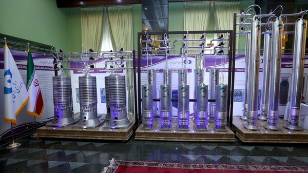 A number of new generation Iranian centrifuges are seen on display during Iran's National Nuclear Energy Day in Tehran, Iran April 10, 2021 - Sputnik International