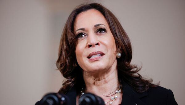 U.S. Vice President Kamala Harris speaks after a jury reached guilty verdicts in the murder trial of former Minneapolis police officer Derek Chauvin stemming from George Floyd's deadly arrest, in the Cross Hall at the White House in Washington, U.S., April 20, 2021. REUTERS/Tom Brenner/File Photo - Sputnik International
