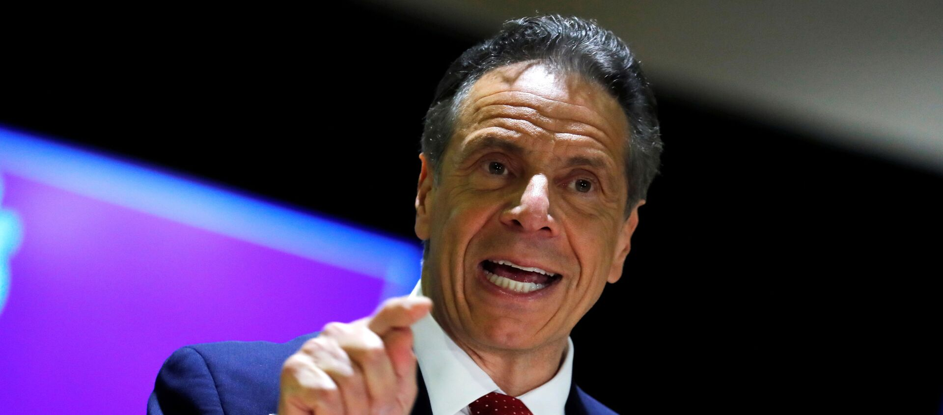 New York Governor Andrew Cuomo speaks at an event to announce five new walk-in pop-up vaccination sites for New York City Bodega, grocery store and supermarket workers amid the coronavirus disease (COVID-19) pandemic, in the Harlem section of Manhattan in New York City, New York, U.S., April 23, 2021. - Sputnik International, 1920, 26.04.2021