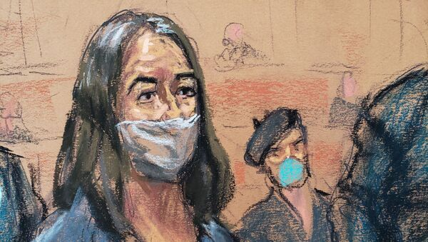 British socialite Ghislaine Maxwell appears during her arraignment hearing on a new indictment at Manhattan Federal Court in New York City, New York, U.S. April 23, 2021, in this courtroom sketch.  - Sputnik International