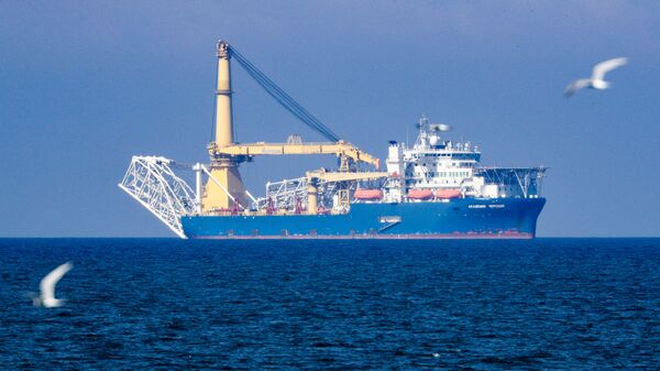 The Russian pipe layer vessel Akademik Cherskiy is pictured in the waters of Kaliningrad, Russia. Pipe-laying vessel Akademik Chersky is able to complete the construction of the Nord Stream 2 gas pipeline - Sputnik International