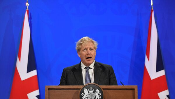 Britain's Prime Minister Boris Johnson holds a news conference at 10 Downing Street,  amid the coronavirus disease (COVID-19) outbreak, in London, Britain, April 20, 2021.  - Sputnik International