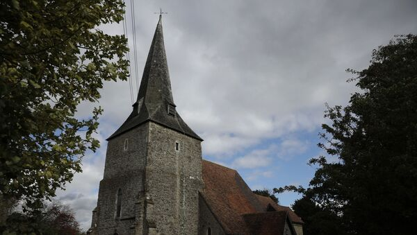 St Mary's Church, of which parts date back to the 12th century, stands neighboring where a post-Brexit customs clearance border post facility is being constructed on land that was previously a field between the villages of Mersham and Sevington in the county of Kent, south east England, Tuesday, Oct. 6, 2020.  - Sputnik International