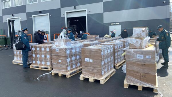 Packages of medical aid for India to help the country tackle the outbreak of the coronavirus disease (COVID-19) are pictured before being loaded onto a plane at Zhukovsky Airport in Moscow Region, Russia 28 April 2021. - Sputnik International