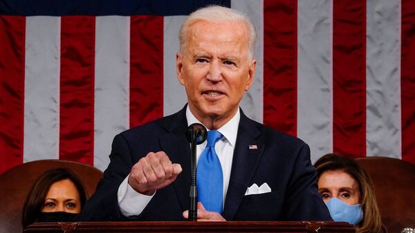 US President Joe Biden addresses to a joint session of Congress in the House chamber of the US Capitol in Washington, US, April 28, 2021 - Sputnik International