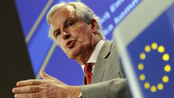 European Union Commissioner for Internal Market and Services Michel Barnier gestures while talking to the media during a press conference at the EU Commission headquarter in Brussels, Wednesday May 26, 2010 - Sputnik International