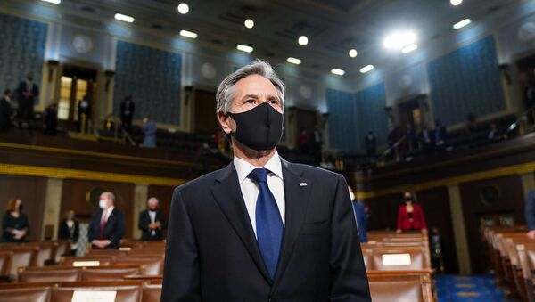 Secretary of State Antony Blinken arrives arrives ahead of President Joe Biden speaking to a joint session of Congress, Wednesday, April 28, 2021, in the House Chamber at the U.S. Capitol in Washington. - Sputnik International