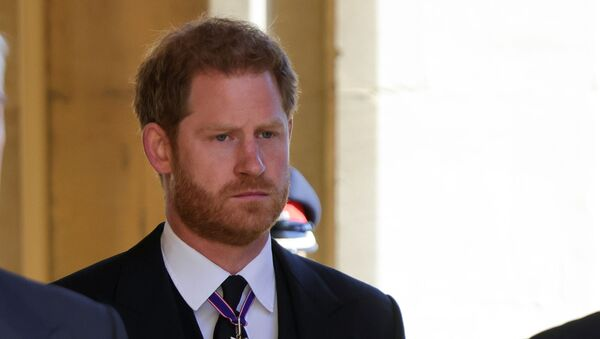 Britain's Prince Harry, Duke of Sussex looks on as he attends the funeral of Britain's Prince Philip, husband of Queen Elizabeth, who died at the age of 99, in Windsor, Britain, 17 April 2021 - Sputnik International