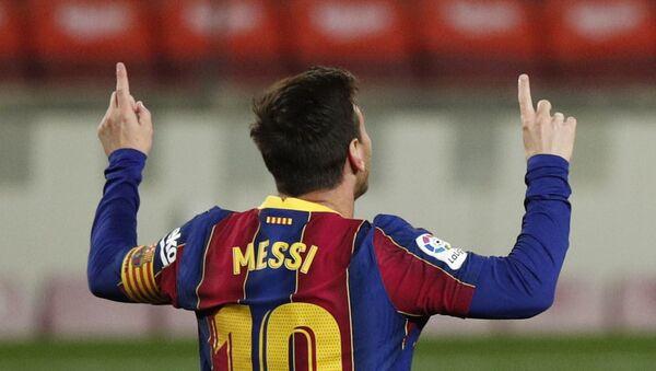 Barcelona's Lionel Messi celebrates scoring their third goal - Sputnik International