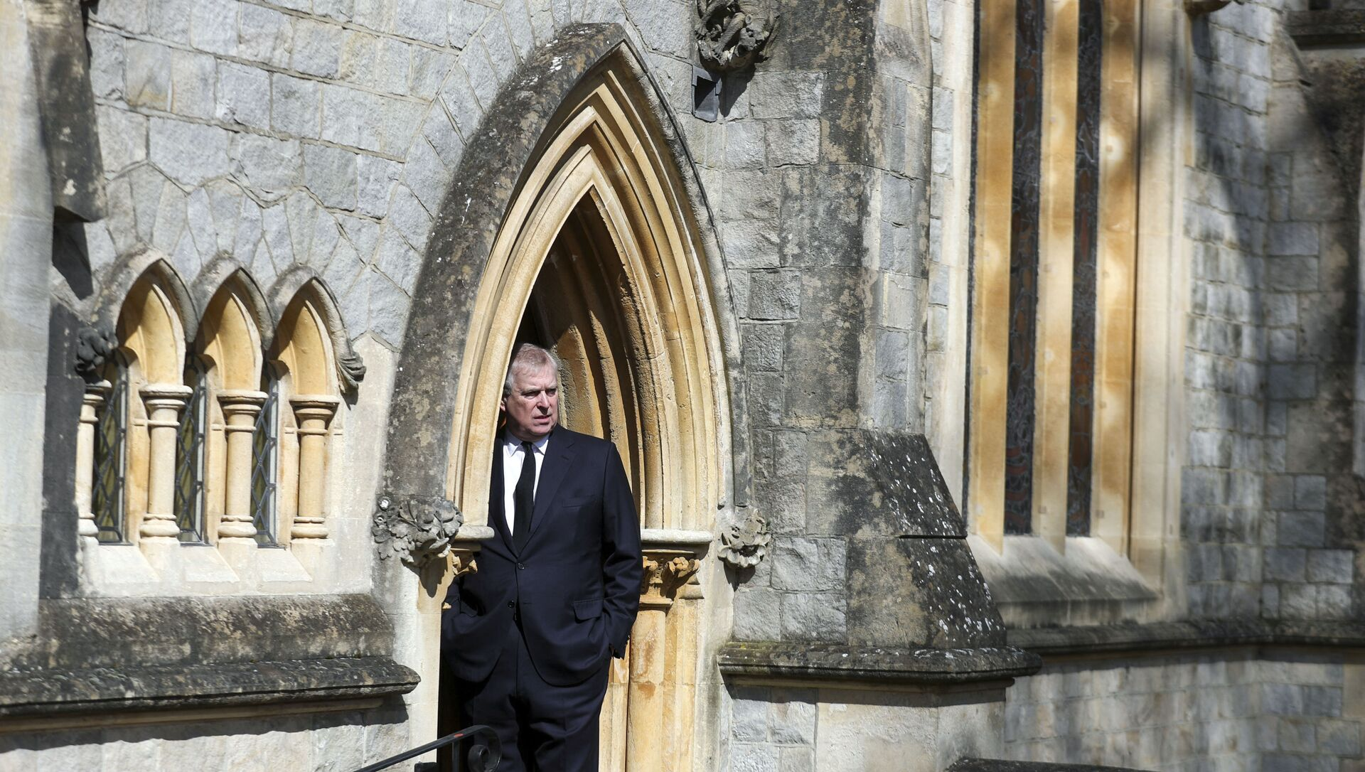 Britain's Prince Andrew, Duke of York, attends Sunday service at the Royal Chapel of All Saints, at Royal Lodge, in Windsor on April 11, 2021, two days after the death of his father Britain's Prince Philip, Duke of Edinburgh. - Queen Elizabeth II has described feeling a huge void in her life following the death of her husband Prince Philip, their son Prince Andrew said on April 11. Andrew, the couple's second son, said following family prayers at Windsor Castle that his mother was contemplating her husband's passing after his death on April 9 aged 99. - Sputnik International, 1920, 13.08.2021