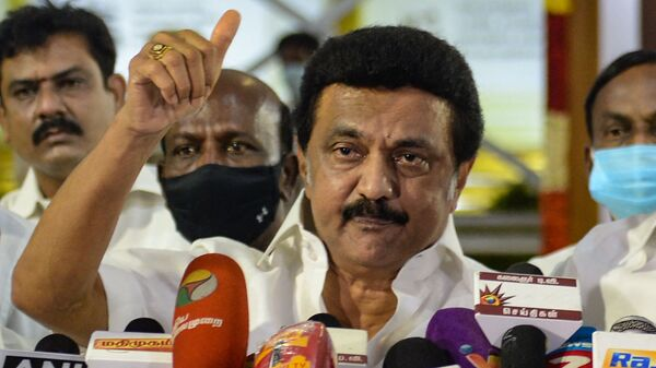 Chief Minister-elect of Tamil Nadu MK Stalin of Dravida Munnetra Kazhagam (DMK) party, gestures as he delivers a speech during a press conference after winning the Tamil Nadu State election, at the memorial of his father and late Chief Minister of Tamil Nadu, M. Karunanidhi, in Chennai, on May 2, 2021. - Sputnik International