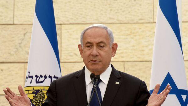 FILE PHOTO: Israeli Prime Minister Benjamin Netanyahu speaks at a ceremony for fallen soldiers of Israel's wars at the Yad Lebanim House on the eve of Memorial Day, in Jerusalem, April 13, 2021.  - Sputnik International