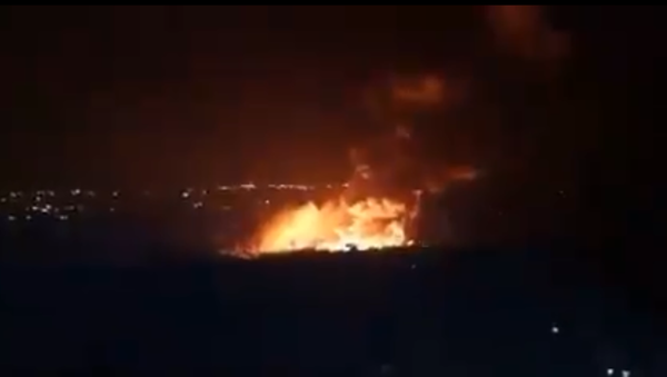 Screenshot from a video allegedly showing the aftermath of what was described by SANA as Israeli aggression against the Latakia region - Sputnik International