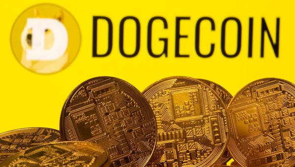 Cryptocurrency representations are seen in front of the Dogecoin logo in this illustration picture taken April 20, 2021 - Sputnik International