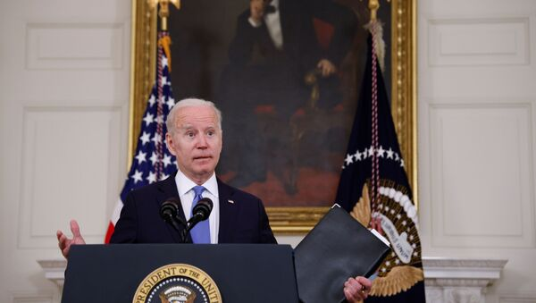 U.S. President Joe Biden delivers remarks on the state of his American Rescue Plan from the State Dining Room at the White House in Washington, D.C., U.S., May 5, 2021 - Sputnik International