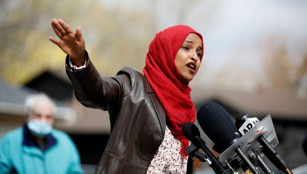 U.S. Rep. Ilhan Omar attends a press conference at Wright vigil - Sputnik International