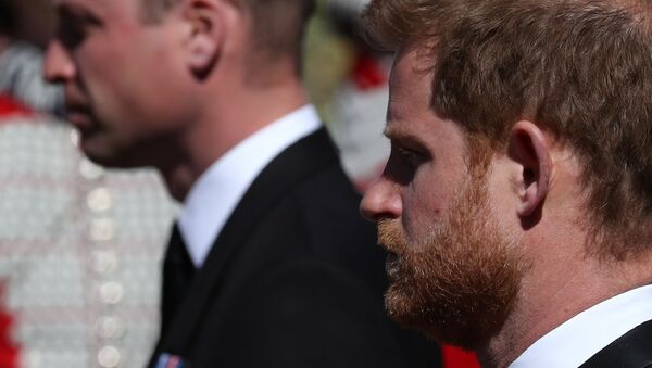 Britain's Prince Harry, Duke of Sussex, looks on during the funeral of Britain's Prince Philip, husband of Queen Elizabeth, who died at the age of 99, in Windsor, Britain, April 17, 2021 - Sputnik International