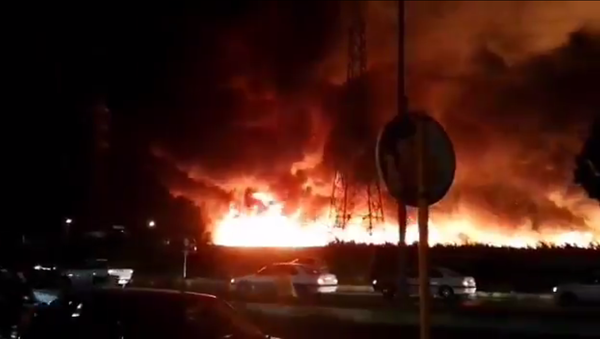 Screenshot from a video allegedly showing the massive fire in the Iranian city of Bushehr - Sputnik International