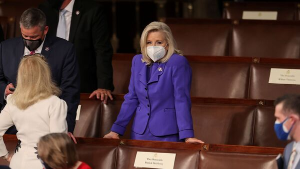 U.S. House Republican Conference Chairperson Rep. Liz Cheney (R-WY) waits for U.S. President Joe Biden to deliver his first address to a joint session of the U.S. Congress inside the House Chamber of the U.S. Capitol in Washington, U.S., April 28, 2021. - Sputnik International