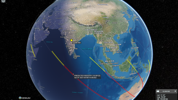 Screenshot from a CelesTrak 3D-map modeling the possible corridors of the Chinese rocket debris falling to Earth - Sputnik International