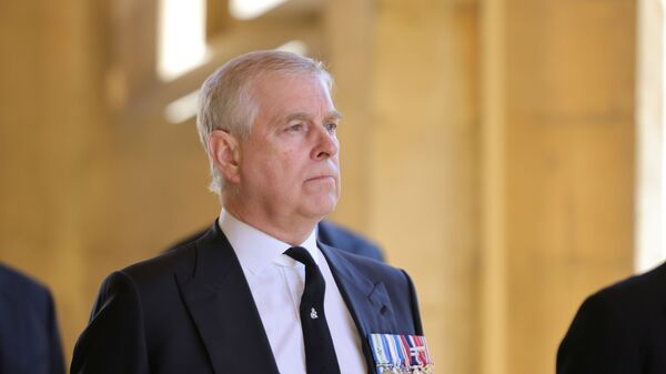 Britain's Britain's Prince Andrew, Duke of York, looks on during the funeral of Britain's Prince Philip, husband of Queen Elizabeth, who died at the age of 99, in Windsor, Britain, April 17, 2021 - Sputnik International