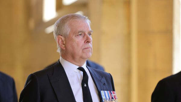 Britain's Prince Andrew, Duke of York, looks on during the funeral of his father Prince Philip, husband of Queen Elizabeth, who died at the age of 99, in Windsor, Britain, 17 April 2021. - Sputnik International